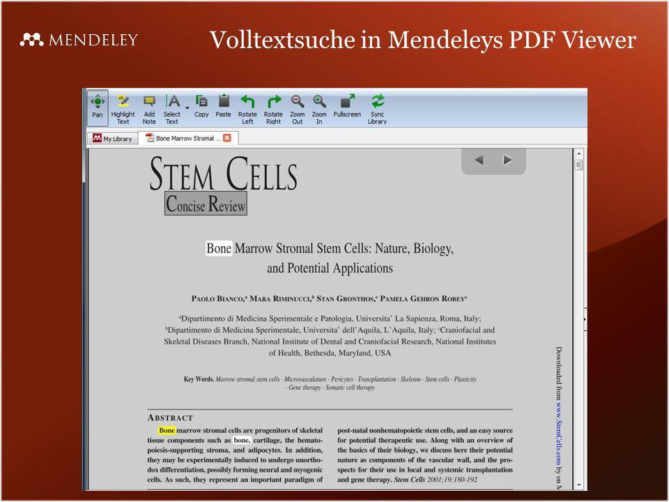 Volltextsuche in Mendeleys PDF Viewer