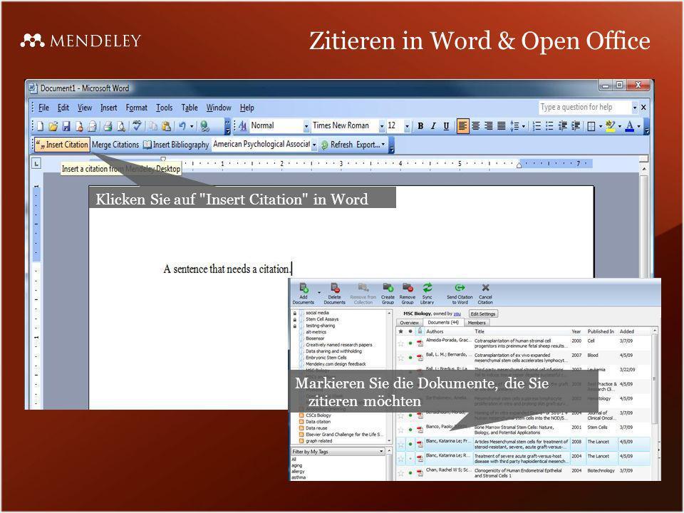 Zitieren in Word & Open Office Klicken Sie auf
