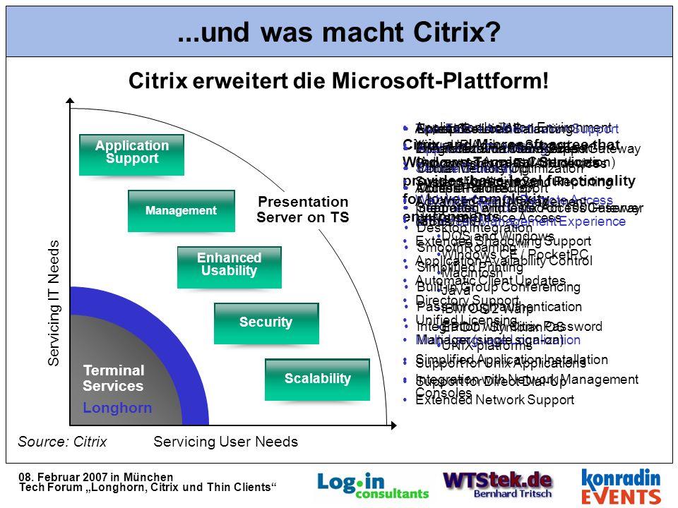 08. Februar 2007 in München Tech Forum Longhorn, Citrix und Thin Clients...und was macht Citrix.