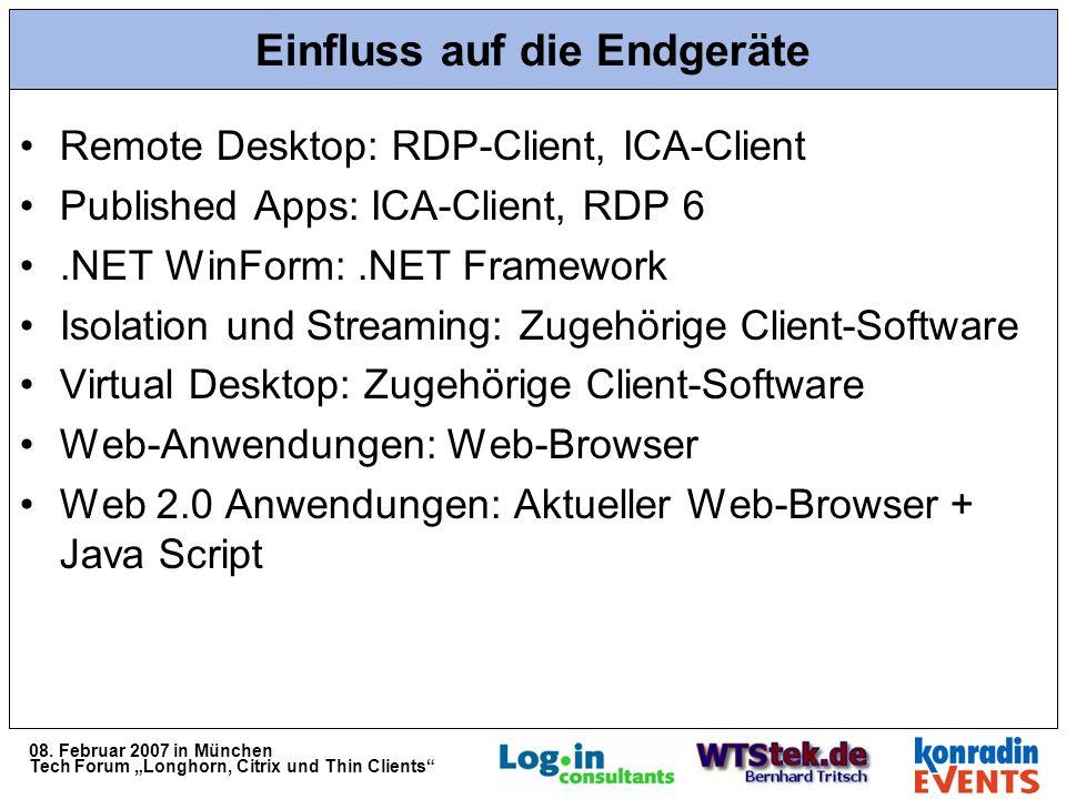08. Februar 2007 in München Tech Forum Longhorn, Citrix und Thin Clients Einfluss auf die Endgeräte Remote Desktop: RDP-Client, ICA-Client Published A