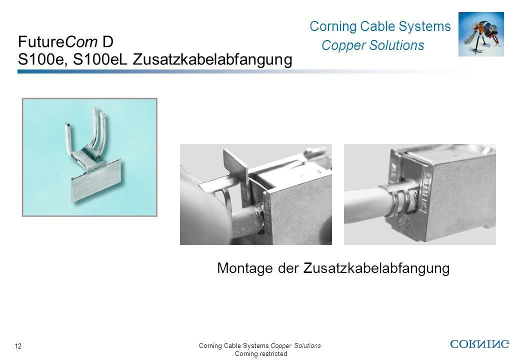 Corning Cable Systems Copper Solutions Corning restricted Corning Cable Systems Copper Solutions 12 FutureCom D S100e, S100eL Zusatzkabelabfangung Mon