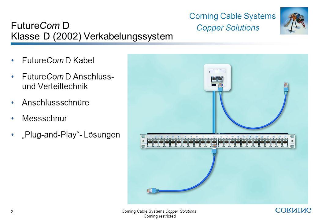 Corning Cable Systems Copper Solutions Corning restricted Corning Cable Systems Copper Solutions 3 FutureCom D Systemdaten Klasse D entsprechend EN50173-1 (2002) Messaufbau: Messschnur S-FTP flex/26, 3m S100e Dose, 2xRJ45 90m FutureCom S-FTP300/24 S100e Verteilerfeld 19, 24xRJ45 Messschnur S-FTP flex/26, 2m NEXT in dB nach Norm NEXT in dB (typ.