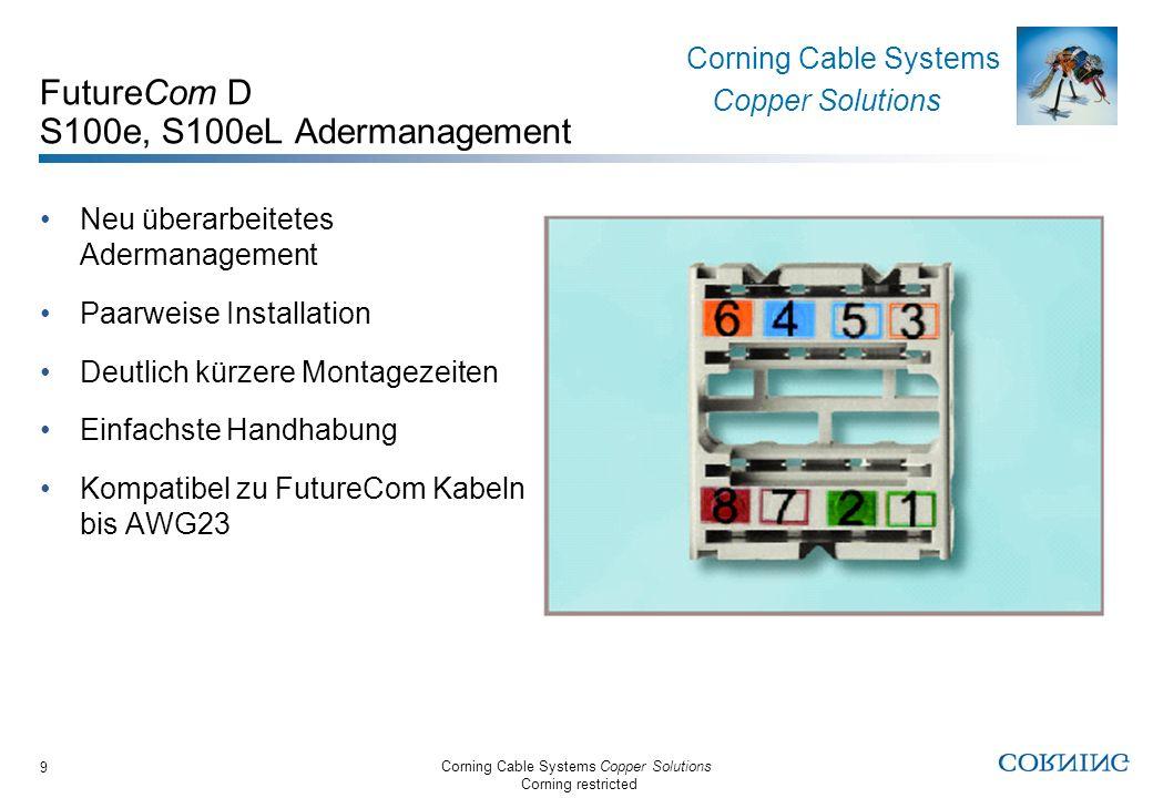 Corning Cable Systems Copper Solutions Corning restricted Corning Cable Systems Copper Solutions 9 FutureCom D S100e, S100eL Adermanagement Neu überar