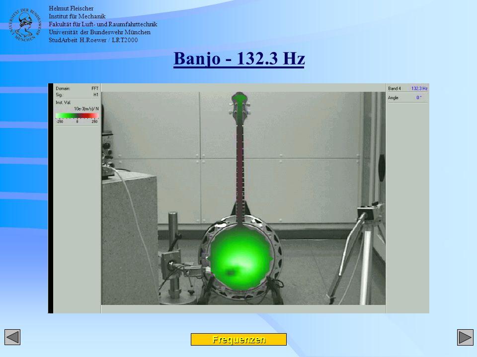 Helmut Fleischer Institut für Mechanik Fakultät für Luft- und Raumfahrttechnik Universität der Bundeswehr München StudArbeit H.Roewer / LRT2000 Banjo - 132.3 Hz Frequenzen