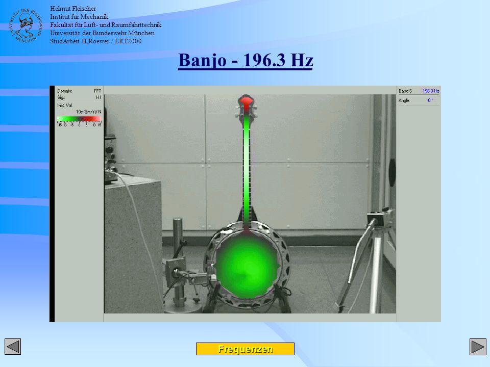Helmut Fleischer Institut für Mechanik Fakultät für Luft- und Raumfahrttechnik Universität der Bundeswehr München StudArbeit H.Roewer / LRT2000 Banjo - 196.3 Hz Frequenzen
