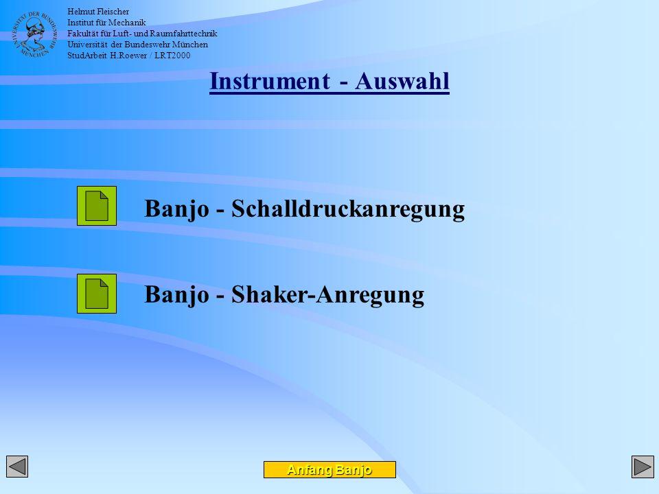 Helmut Fleischer Institut für Mechanik Fakultät für Luft- und Raumfahrttechnik Universität der Bundeswehr München StudArbeit H.Roewer / LRT2000 Instrument - Auswahl Anfang Banjo Anfang Banjo Banjo - Schalldruckanregung Banjo - Shaker-Anregung