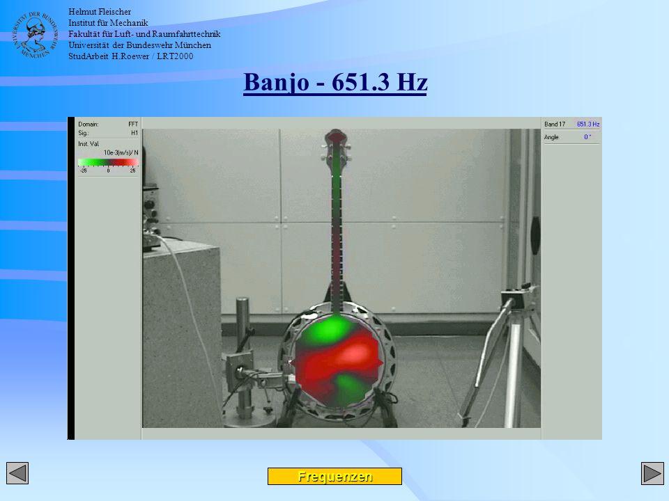 Helmut Fleischer Institut für Mechanik Fakultät für Luft- und Raumfahrttechnik Universität der Bundeswehr München StudArbeit H.Roewer / LRT2000 Banjo - 651.3 Hz Frequenzen