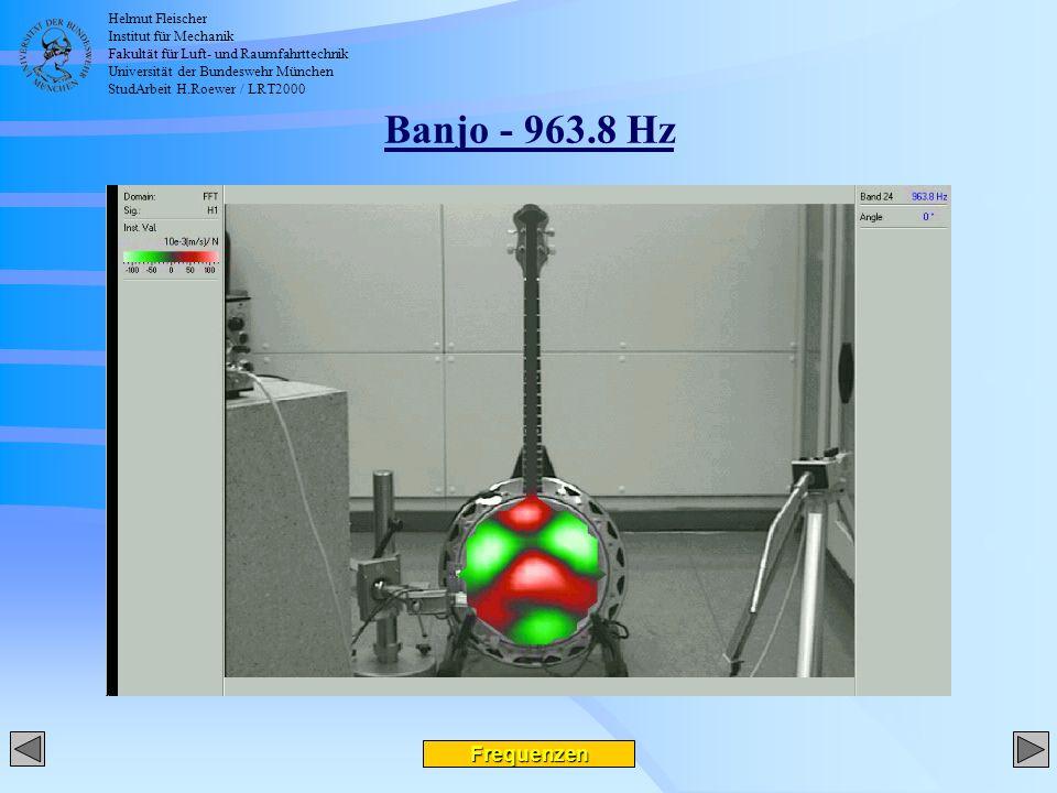 Helmut Fleischer Institut für Mechanik Fakultät für Luft- und Raumfahrttechnik Universität der Bundeswehr München StudArbeit H.Roewer / LRT2000 Banjo - 963.8 Hz Frequenzen