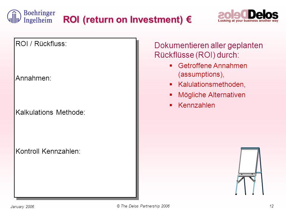 12© The Delos Partnership 2006 January 2006 ROI (return on Investment) ROI (return on Investment) ROI / Rückfluss: Annahmen: Kalkulations Methode: Kon