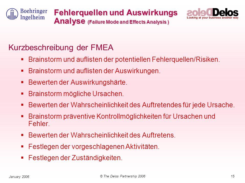 15© The Delos Partnership 2006 January 2006 Fehlerquellen und Auswirkungs Analyse (Failure Mode and Effects Analysis ) Kurzbeschreibung der FMEA Brain