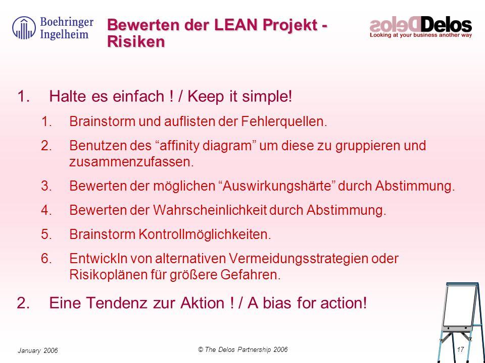 17© The Delos Partnership 2006 January 2006 Bewerten der LEAN Projekt - Risiken 1.Halte es einfach ! / Keep it simple! 1.Brainstorm und auflisten der