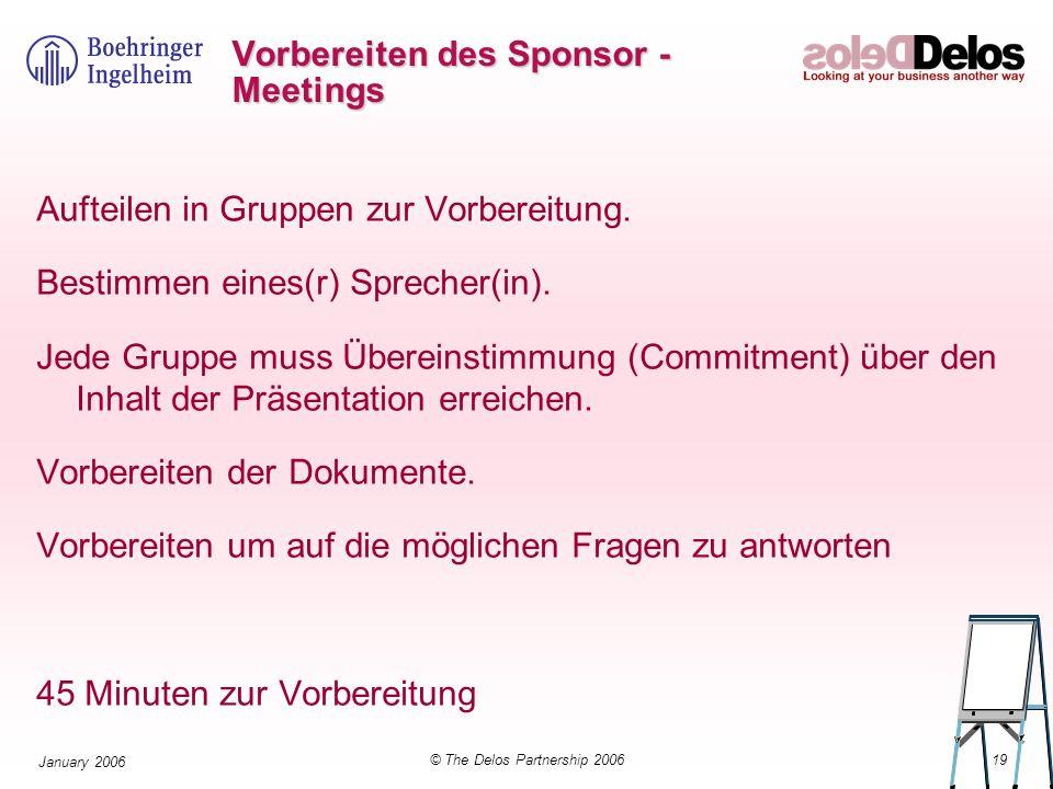 19© The Delos Partnership 2006 January 2006 Vorbereiten des Sponsor - Meetings Aufteilen in Gruppen zur Vorbereitung. Bestimmen eines(r) Sprecher(in).
