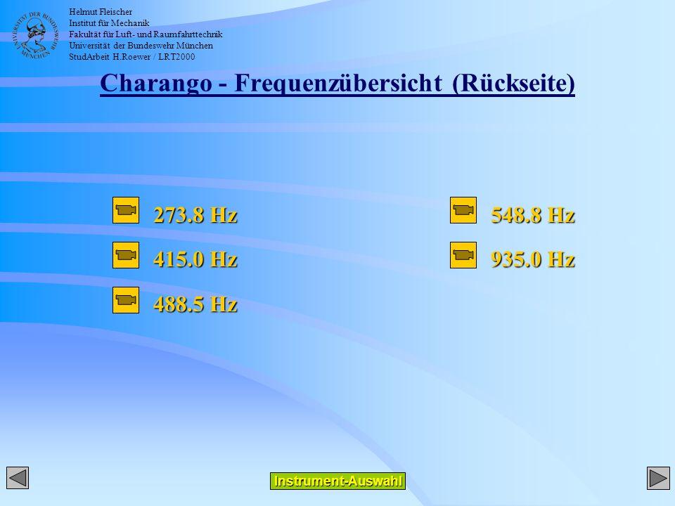 Helmut Fleischer Institut für Mechanik Fakultät für Luft- und Raumfahrttechnik Universität der Bundeswehr München StudArbeit H.Roewer / LRT2000 Charango - Frequenzübersicht (Rückseite) 273.8 Hz 415.0 Hz 488.5 Hz 548.8 Hz 935.0 Hz Instrument-Auswahl