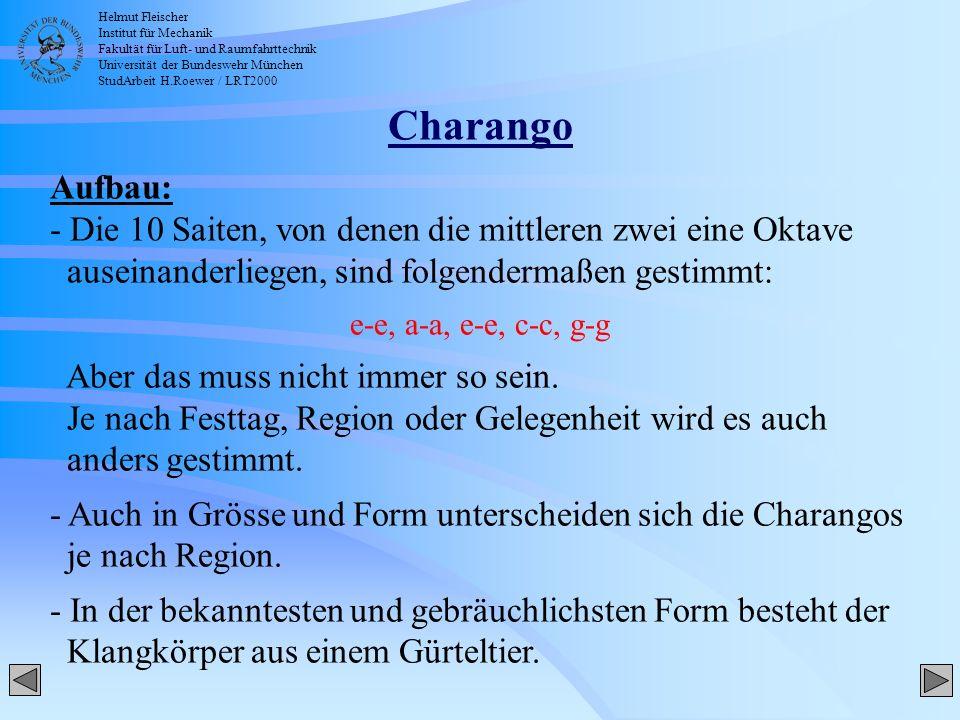 Helmut Fleischer Institut für Mechanik Fakultät für Luft- und Raumfahrttechnik Universität der Bundeswehr München StudArbeit H.Roewer / LRT2000 Charan