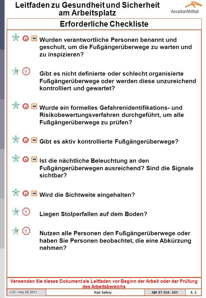 AM ST 004 - 001 S. 2 Leitfaden zu Gesundheit und Sicherheit am Arbeitsplatz v.01 - may.05, 2011 Rail Safety Erforderliche Checkliste Verwenden Sie die