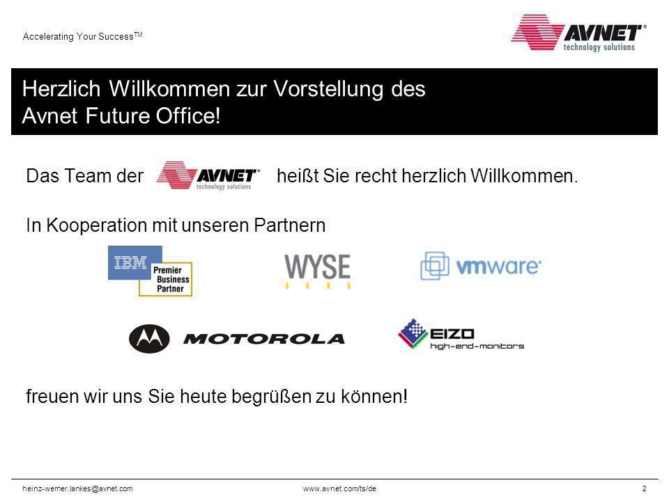 www.avnet.com/ts/de Accelerating Your Success TM heinz-werner.lankes@avnet.com2 Herzlich Willkommen zur Vorstellung des Avnet Future Office! Das Team