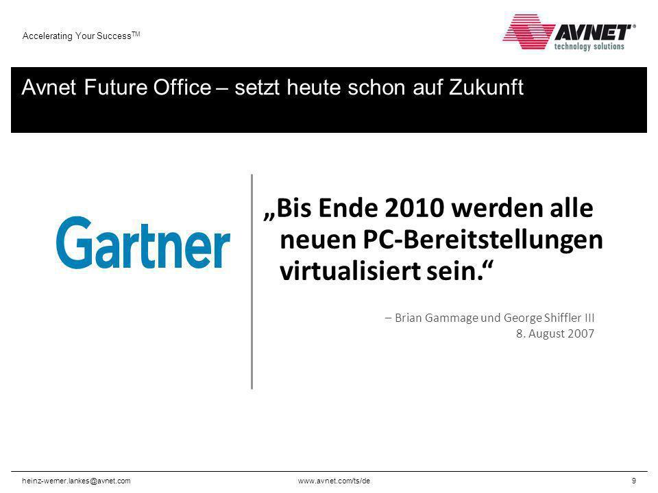 www.avnet.com/ts/de Accelerating Your Success TM heinz-werner.lankes@avnet.com9 Avnet Future Office – setzt heute schon auf Zukunft – Brian Gammage un