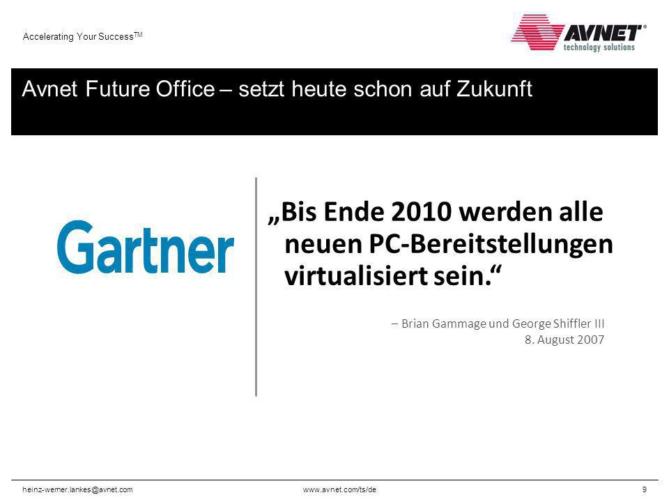 www.avnet.com/ts/de Accelerating Your Success TM heinz-werner.lankes@avnet.com9 Avnet Future Office – setzt heute schon auf Zukunft – Brian Gammage und George Shiffler III 8.
