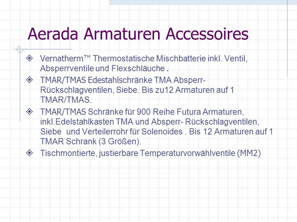 Aerada Armaturen Accessoires Vernatherm Thermostatische Mischbatterie inkl. Ventil, Absperrventile und Flexschläuche. TMAR/TMAS Edestahls chränke TMA
