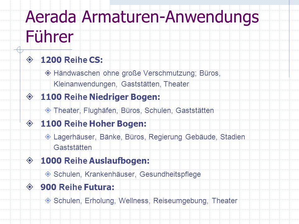 Aerada Armaturen-Anwendungs Führer 1200 Reihe CS: Händwaschen ohne große Verschmutzung; Büros, Kleinanwendungen, Gaststätten, Theater 1100 Reihe Niedr