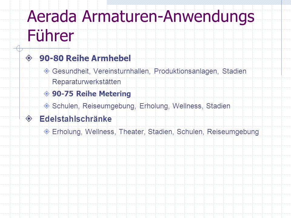 Aerada Armaturen-Anwendungs Führer 90-80 Reihe Armhebel Gesundheit, Vereinsturnhallen, Produktionsanlagen, Stadien Reparaturwerkstätten 90-75 Reihe Me