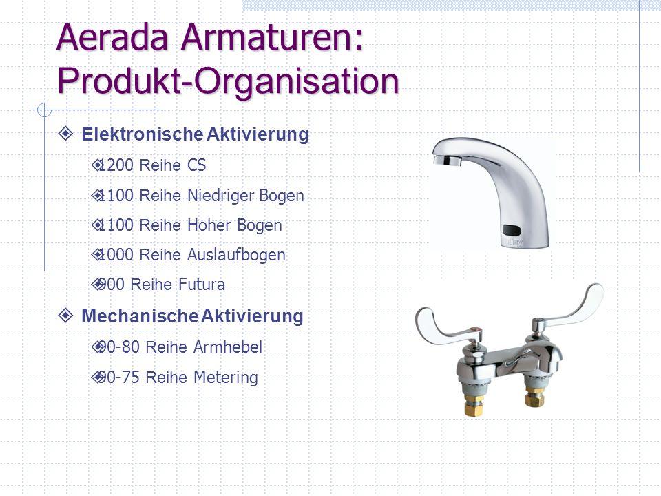 Aerada Armaturen: Produkt-Organisation Elektronische Aktivierung 1200 Reihe CS 1100 Reihe Niedriger Bogen 1100 Reihe Hoher Bogen 1000 Reihe Auslaufbog