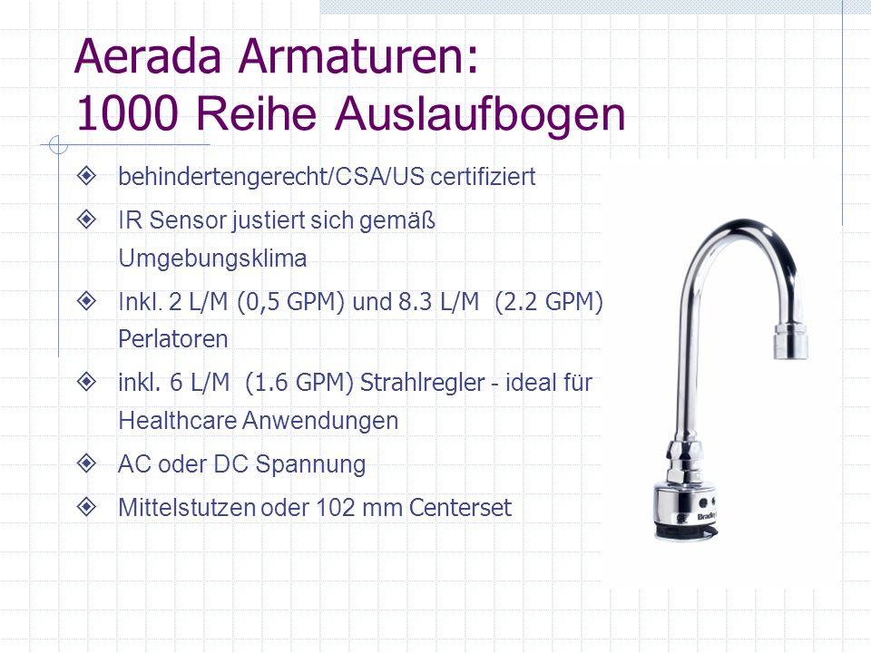 Aerada Armatur: 900 Reihe Futura behindertengerecht /CSA certifiziert Zuverlässiger IR Sensor 102 mm Centerset, Mittelstutzen und 203 mm (8 ) Centerset Platte 2 L/M (0,5 GPM) v andalensicherer Perlator in Verbindung mit Edelstahlschränken zur maximalen Vandalensicherung