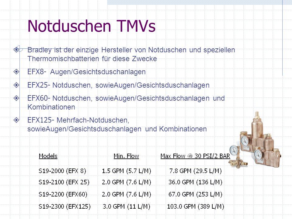 Notduschen TMVs Bradley ist der einzige Hersteller von Notduschen und speziellen Thermomischbatterien für diese Zwecke EFX8- Augen/Gesichtsduschanlage