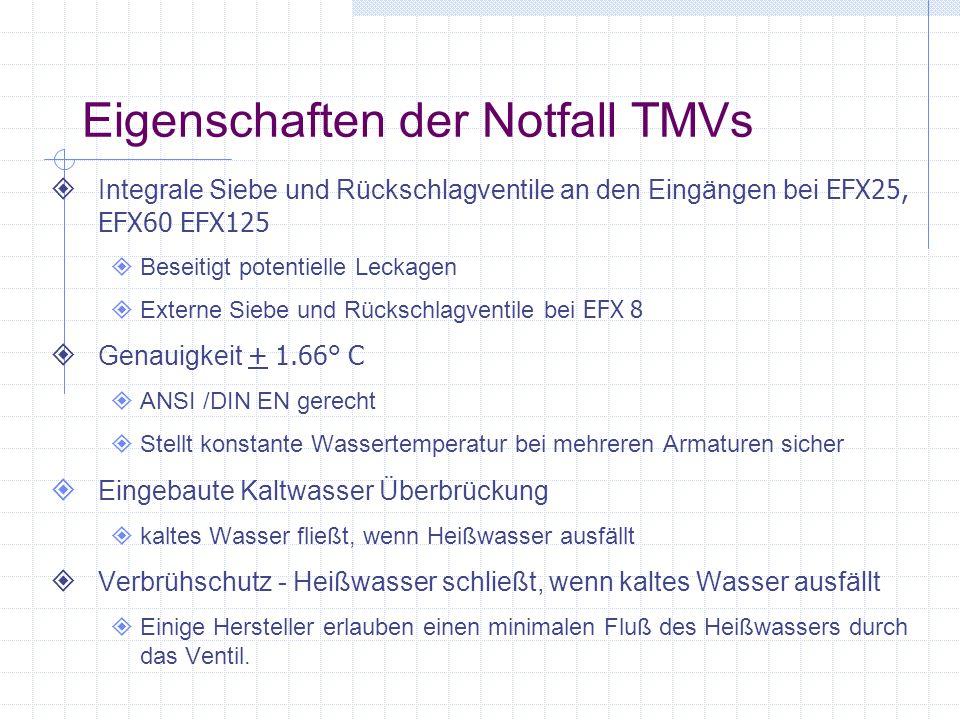 Eigenschaften der Notfall TMVs Integrale Siebe und Rückschlagventile an den Eingängen bei EFX25, EFX60 EFX125 Beseitigt potentielle Leckagen Externe S