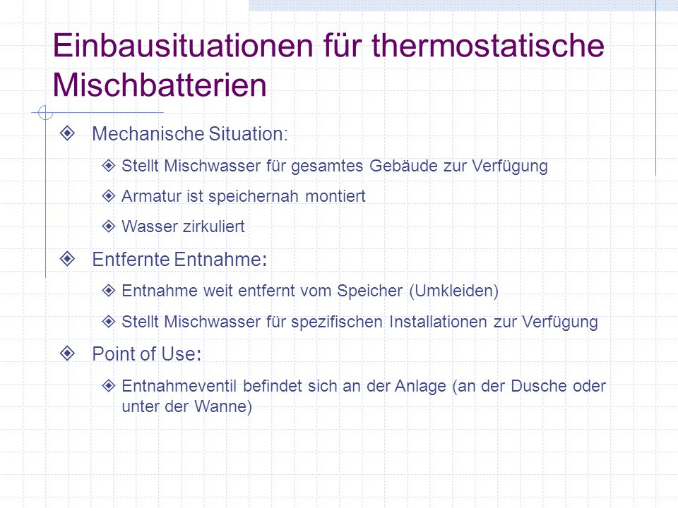 Die Navigator Linie thermostatischer Mischbatterien kann in vier Familien unterteilt werden High-Low Armaturen Standardarmaturen Point of Use - Armaturen Notduschenarmaturen 4 Navigator-Familie