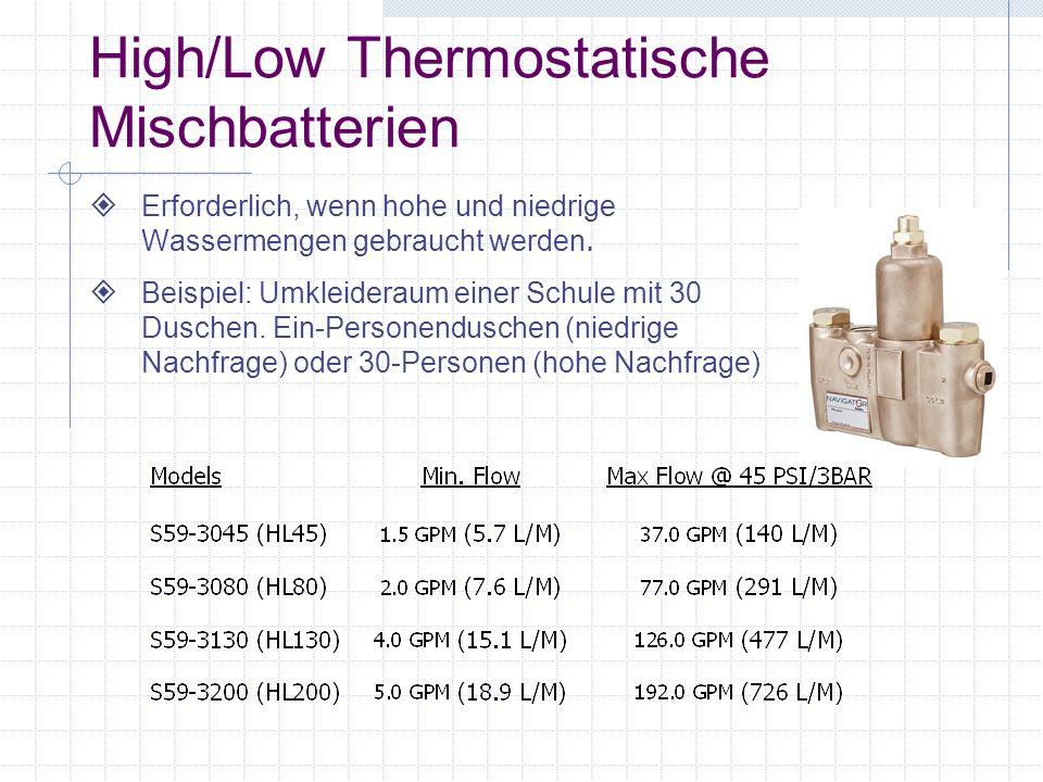 High/Low Thermostatische Mischbatterien Erforderlich, wenn hohe und niedrige Wassermengen gebraucht werden. Beispiel: Umkleideraum einer Schule mit 30