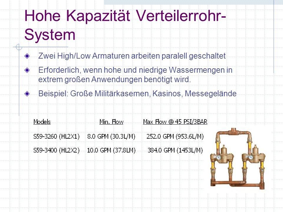 Hohe Kapazität Verteilerrohr- System Zwei High/Low Armaturen arbeiten paralell geschaltet Erforderlich, wenn hohe und niedrige Wassermengen in extrem