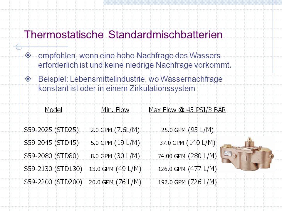 Thermostatische Standardmischbatterien empfohlen, wenn eine hohe Nachfrage des Wassers erforderlich ist und keine niedrige Nachfrage vorkommt. Beispie