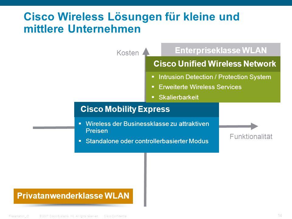 © 2007 Cisco Systems, Inc. All rights reserved.Cisco ConfidentialPresentation_ID 14 Funktionalität Kosten Cisco Wireless Lösungen für kleine und mittl