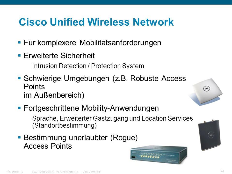 © 2007 Cisco Systems, Inc. All rights reserved.Cisco ConfidentialPresentation_ID 24 Cisco Unified Wireless Network Für komplexere Mobilitätsanforderun