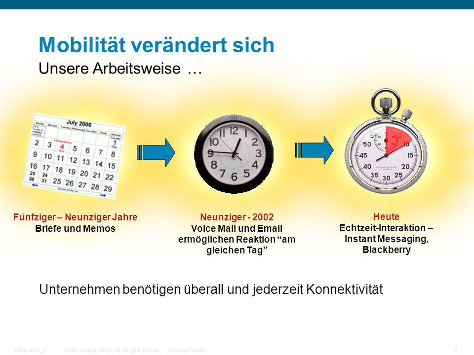 © 2007 Cisco Systems, Inc. All rights reserved.Cisco ConfidentialPresentation_ID 3 Mobilität verändert sich Unternehmen benötigen überall und jederzei