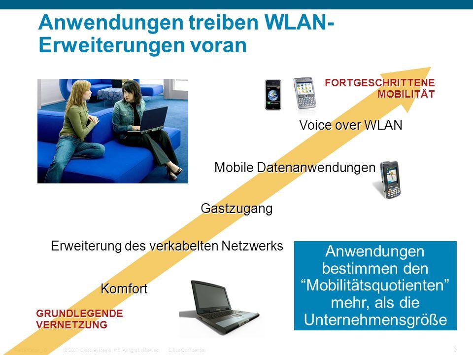 © 2007 Cisco Systems, Inc. All rights reserved.Cisco ConfidentialPresentation_ID 6 Anwendungen treiben WLAN- Erweiterungen voran Komfort Erweiterung d