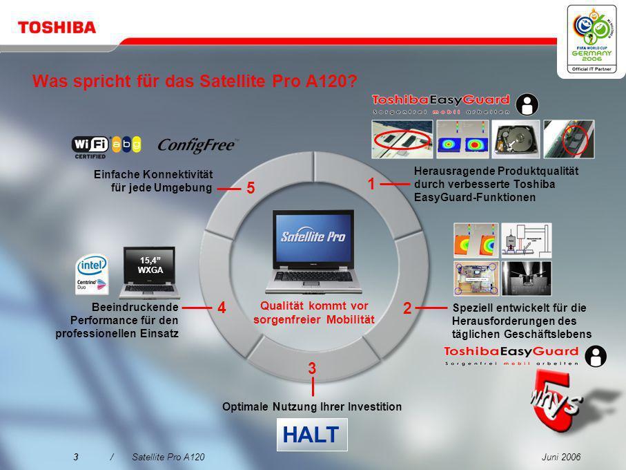 Juni 20063/Satellite Pro A120 Was spricht für das Satellite Pro A120.