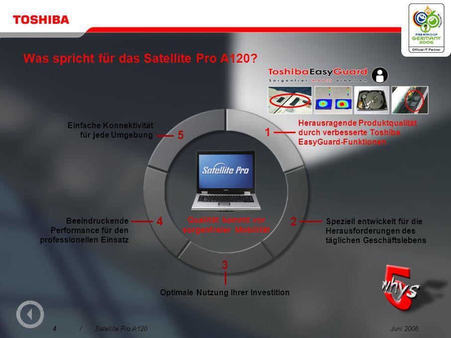 Juni 20064/Satellite Pro A120 Was spricht für das Satellite Pro A120.