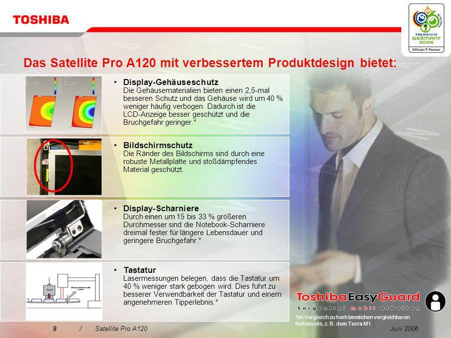 Juni 200629/Satellite Pro A120 Kabellose Maus PX1215E-2NAC Wireless Laser Mouse mit Laser Pointer-Funktion Ergonomisches und elegantes Design, einfache Einrichtung mit Plug & Play Kensington MicroSaver PX1172E-1NAC Der Industriestandard für Notebooksicherheit Netzteil PA3377E-2ACA Akkuladegerät PA3091E-2CHG 60 W (75 W max.), 3-polig 2 Akkus unterstützt Zubehör für den Arbeitsplatz Internationale Garantieerweiterung Services Vor-Ort-Garantie für EMEA, mit Reparaturservice bis zum nächsten Werktag Wenden Sie sich bzgl.