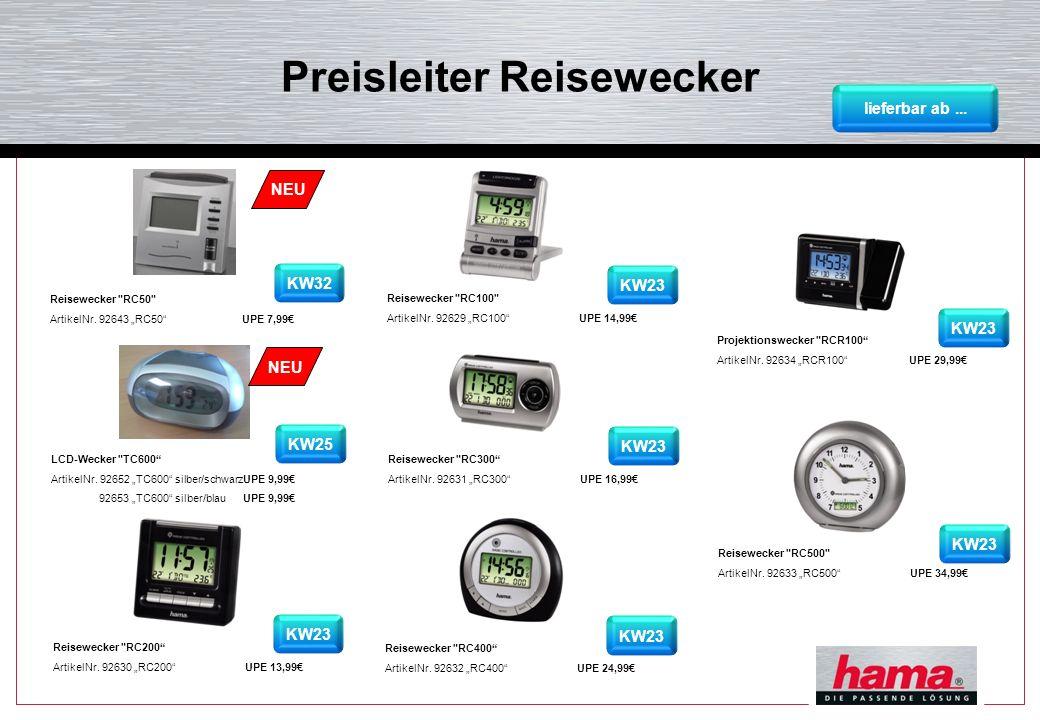 Neuheit: Reisewecker RC50 Reisewecker RC50 - DCF-Funkuhr mit digitaler Anzeige von Uhrzeit, Weckzeit, Datum und Temperatur - zweizeilige Displayanzeige mit großer Zeitanzeige und Dual-Time-Funktion - Batterie (1x AA Mignon) im Lieferumfang enthalten - Abmessungen: 8,4 x 4,9 x 8,6 cm - Material: Kunststoff - Gewicht: 95g (ohne Batterien) - Uhr-/ Kalenderfunktion: - DCF- Funkuhr (automatische Zeitanpassung an die genaueste Uhr der Welt) - mit Sommerzeitanzeige - Uhrzeit (umschaltbar 12-/24-h-Format) - Datumsanzeige (Tag/Monat) -Wochentaganzeige (5 Sprachen) - Weckerfunktion: - 2 Alarmzeiten programmierbar - Schlummerfunktion ArtNr.: 92643 lieferbar KW32