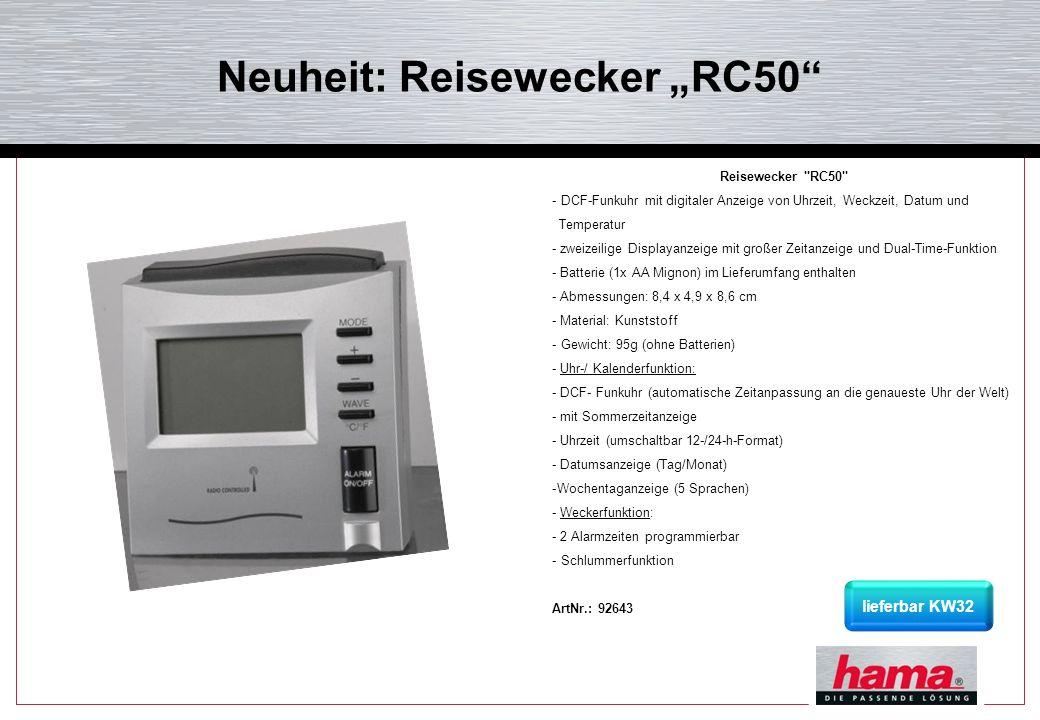 Neuheit: Reisewecker RC50 Reisewecker