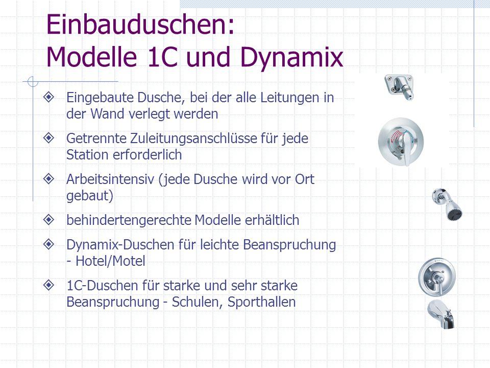 Einbauduschen: Modelle 1C und Dynamix Eingebaute Dusche, bei der alle Leitungen in der Wand verlegt werden Getrennte Zuleitungsanschlüsse für jede Sta