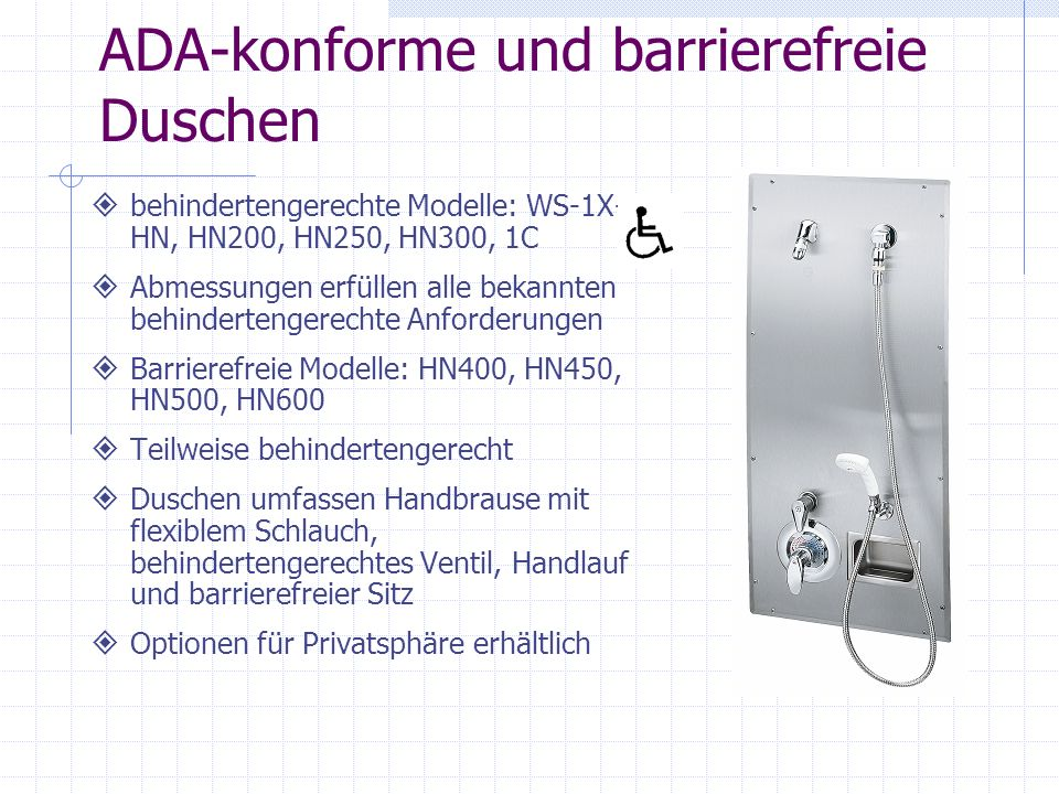 ADA-konforme und barrierefreie Duschen behindertengerechte Modelle: WS-1X- HN, HN200, HN250, HN300, 1C Abmessungen erfüllen alle bekannten behinderten