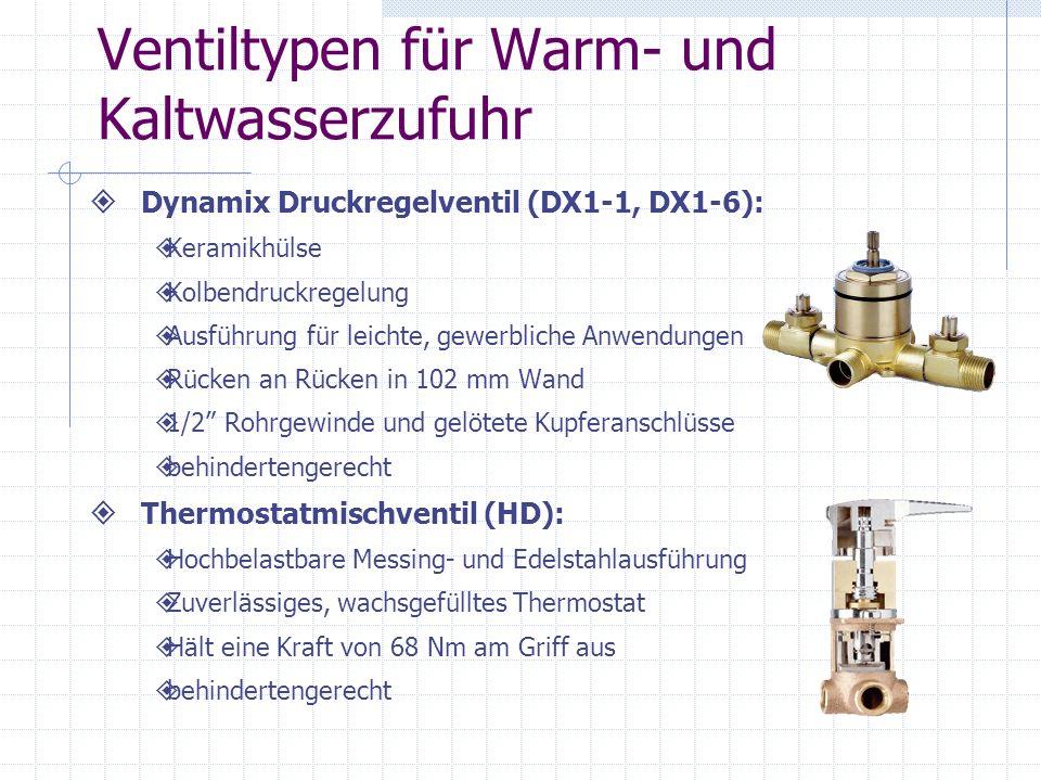 Ventiltypen für Warm- und Kaltwasserzufuhr Dynamix Druckregelventil (DX1-1, DX1-6): Keramikhülse Kolbendruckregelung Ausführung für leichte, gewerblic