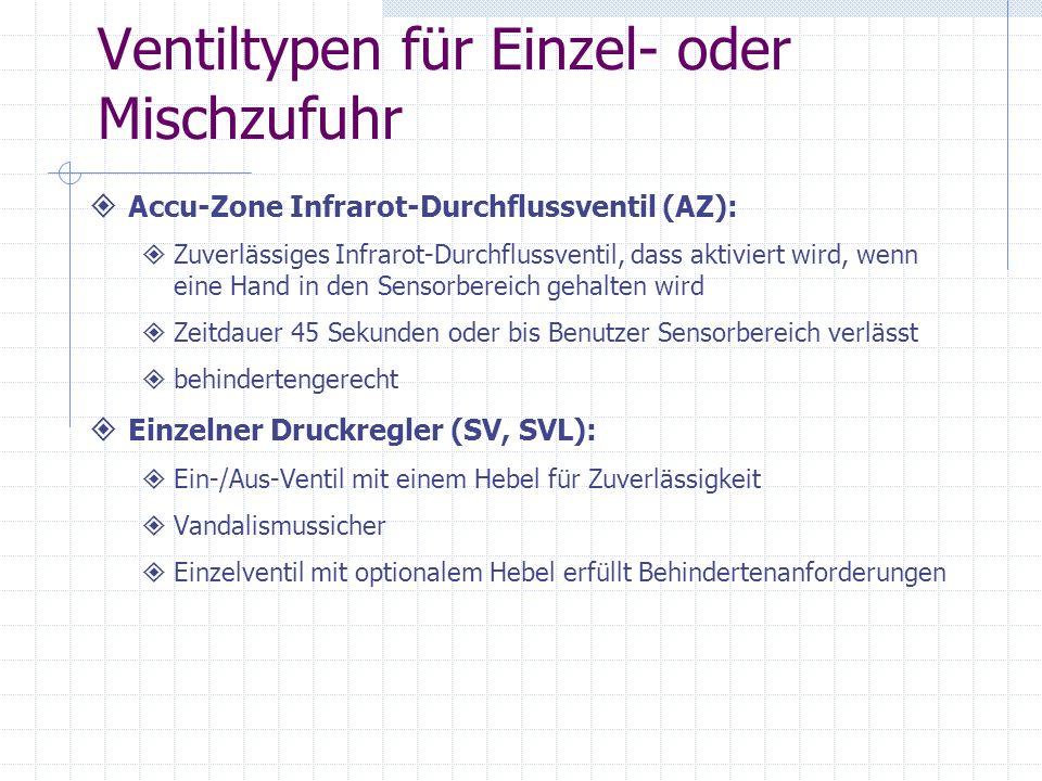 Ventiltypen für Einzel- oder Mischzufuhr Accu-Zone Infrarot-Durchflussventil (AZ): Zuverlässiges Infrarot-Durchflussventil, dass aktiviert wird, wenn