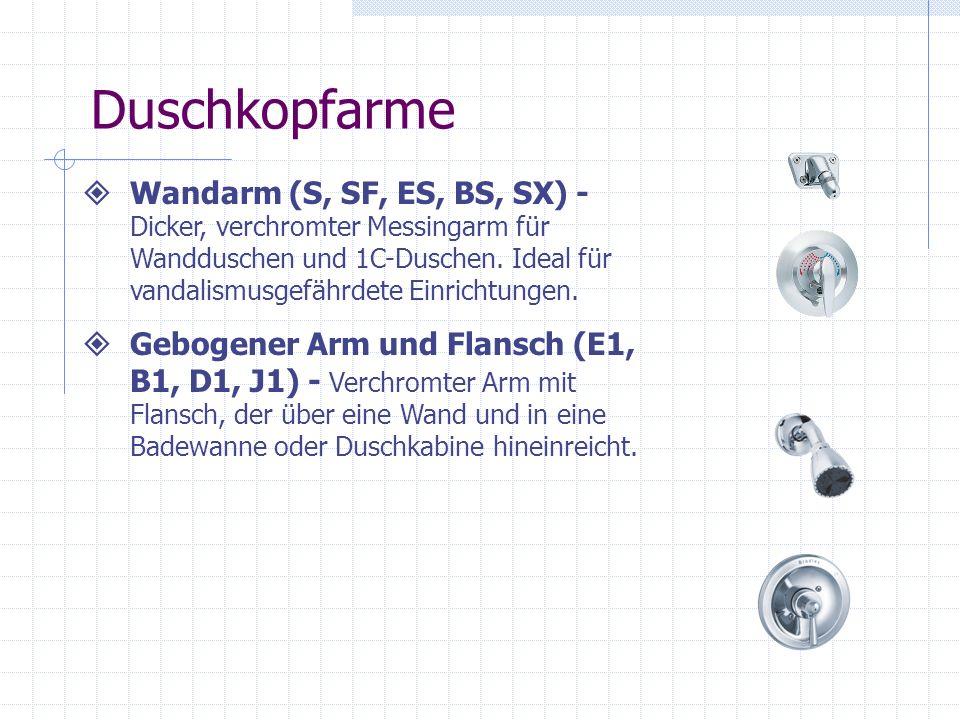 Duschkopfarme Wandarm (S, SF, ES, BS, SX) - Dicker, verchromter Messingarm für Wandduschen und 1C-Duschen. Ideal für vandalismusgefährdete Einrichtung