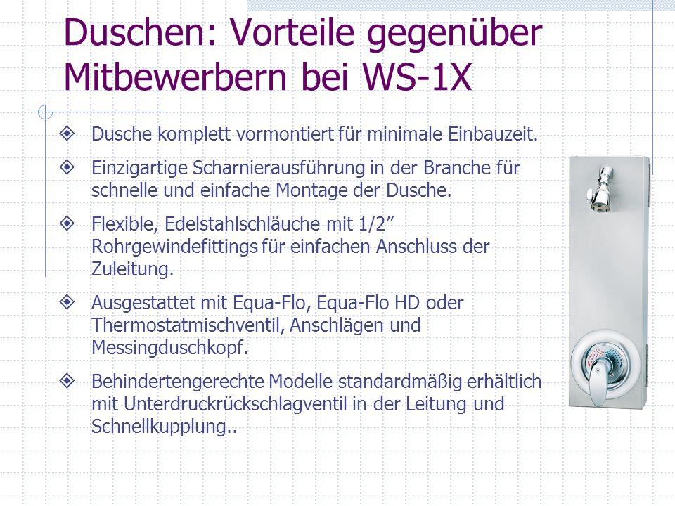 Duschen: Vorteile gegenüber Mitbewerbern bei WS-1X Dusche komplett vormontiert für minimale Einbauzeit. Einzigartige Scharnierausführung in der Branch