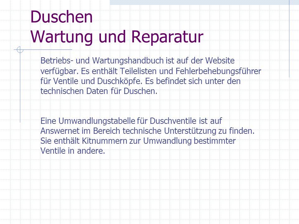 Duschen Wartung und Reparatur Betriebs- und Wartungshandbuch ist auf der Website verfügbar. Es enthält Teilelisten und Fehlerbehebungsführer für Venti