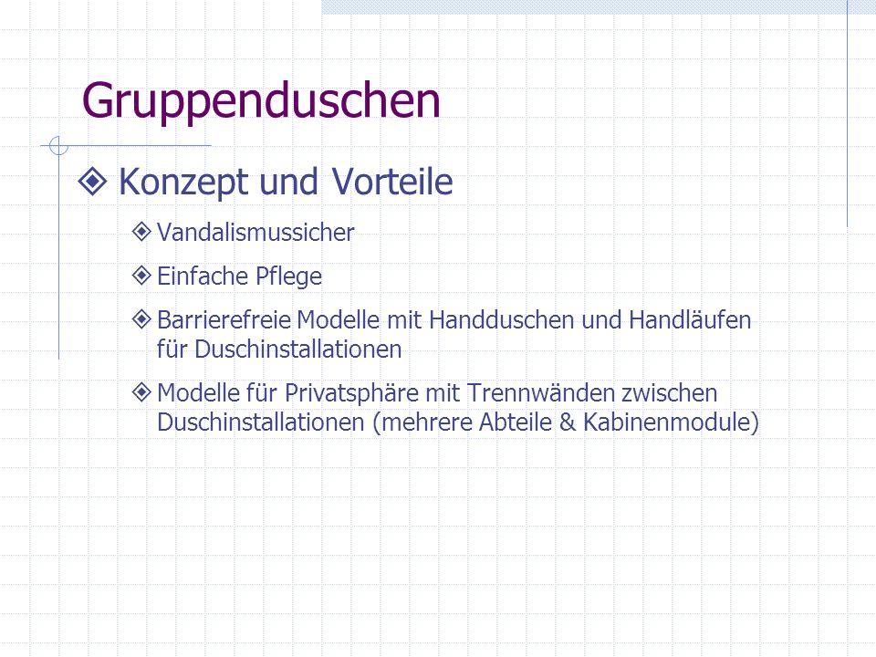 Gruppenduschen Konzept und Vorteile Vandalismussicher Einfache Pflege Barrierefreie Modelle mit Handduschen und Handläufen für Duschinstallationen Mod